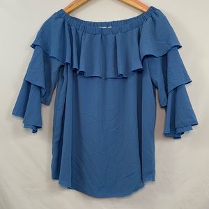 Pebble and stone blue off the shoulder top